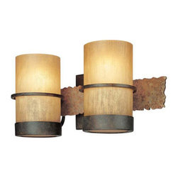 Troy Lighting - Troy Lighting B1842BB Bamboo 2 Light Bathroom Vanity Light - Go au natural with Troy Lighting�s Bamboo collection. Mixing textures and materials, including slate, iron and Bamboo glass, this 2-light Craftsman-inspired bath bar establishes an earthy ambience that complements a wide range of d�cor. It accommodates two 100W bulbs, and by adding a dimmer switch, you can adjust the light level to match the mood of the moment. Features: