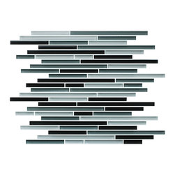 """Rocky Point Tile - 4"""" x 6"""" Sample - Tahoe Fine Lines Random Strip Glass Mosaic Tiles - Jazz up your kitchen with the smooth look and feel of strip glass tiles. Skinny black, white and gray strips stack to create an art deco mosaic that makes a snappy kitchen backsplash. Looks fabulous next to white or black cabinetry and countertops or next to a pop of bright color."""
