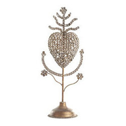 Sacred Heart Sculpture - New - This sculpture is a unique way to remind your family of the reason for the season: Christ the King. Use this sculpture in conjunction with our Crown Sculpture – Tall and Crown Sculpture – Short for a pretty trio that you can display on a buffet or tablescape. It's crafted from iron, encrusted with rhinestones that add opulence.