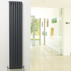 Hudson Reed - Anthracite Vertical Designer Hydronic Radiator Warmer 63 x 14 & Valves - With an impressive heat output of 1,664 Watts (5,680 BTUs), this designer radiator, in a fashionable anthracite finish (RAL7016), is stylish and highly efficient, ensuring that your room is heated quickly.With twelve oval bars, arranged in six double columns, bringing a touch of style to any living space, this modern classic connects directly into your domestic central heating system via the angled radiator valves included. This radiator comes complete with a 5 YEAR GUARANTEE.Luxury Double Anthracite Vertical Designer Radiator 63 x 14 Details  Dimensions: (H x W x D) 63 x 14 x 4 (1600mm x 354mm x 78mm) Output: 1,664 Watts (5,680 BTUs) Pipe centres with valves: 17 (430mm) Depth when fitted: 4.3 (110mm) Wall to centre of tapping: 2.5 Number of columns: 6 Oval crossbars Designed to be plumbed into your central heating system Suitable for bathroom, cloakroom, kitchen etc. Please note: angled radiator valves are included  Buy now, to transform your living space, at an affordable price.5 year guarantee Please Note: Our radiators are designed for forced circulation closed loop systems only. They are not compatible with open loop, gravity hot water or steam systems.