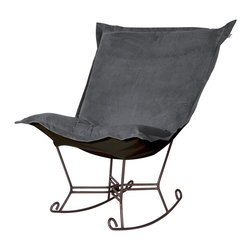 Howard Elliott - Bella Pewter Puff Scroll Rocker - Mahogany Frame - If you have ever sat in our puff chair, you would ask yourself, hat could possibly make this chair more comfortable? Well the puff chair in our Bella fabric is the answer. This super lush fabric in rich vivid colors will make the puff chair the most comfortable and soft chair you have ever sat in!