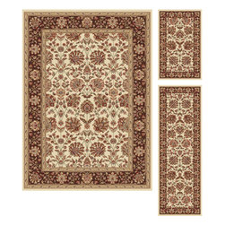Tayse Rugs - Elegance Beige Green and Brown Area Rug Sets Three Piece Set - - Classic design that can be used with transitional or traditional d�cor. Wider, contrasting border offers a distinct appeal. Timeless hues of ivory, brown and gold. Made of soft, easy to clean polypropylene. Vacuum and spot clean.  - Square Footage: 47  - Pattern: Floral  - Pile Height: 0.39-Inch  -3 piece rug collection: 5? x 7?, 20 x 60, and 20 x 32 Tayse Rugs - 5332  Ivory  3 Pc. Set