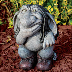 Garden decor - Pondering Sylvester, the Cynical Gnome Troll Statue