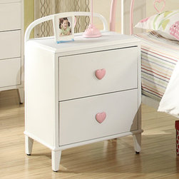 "Coaster - Juliette Nightstand, Sandy Yellow/Pink - This elegant youth metal bedroom collection will add a touch of sophisticated style and feminine appeal to the youth bedroom in your home. Slick pink metal construction, sinuous shapes, and whimsical heart designs create the ideal look for your child. Other casegood pieces feature a simple, angelic, white finish with clean and crisp box lines. Pink heart shaped knobs add the perfect touch of cuteness ideal for any girl's dream bedroom. Choose from 2 different bedroom styles: an arched metal headboard/footboard that include a lovely pink finish and motifs of hearts or a rectangular headboard/footboard with pink/white ornament detail.; Casual Style; Finish/Color: Sandy Yellow/Pink; Box Spring/Foundation Not Required; Dimensions: 19.75""L x 15.75""W x 29""H"