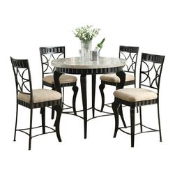 """Acme - 5 PC Lorencia Collection Round White Marble Top Counter Height Dining Table Set - 5-Piece Lorencia collection round white marble top counter height dining table set with metal base, This set features a dark finish metal dining counter height dining table set with a marble top, and 4 side chairs with a fabric upholstered seat. Round Table measures 40"""" Dia. x 36"""" H, Side chairs measure 24"""" Seat height. Some assembly required."""