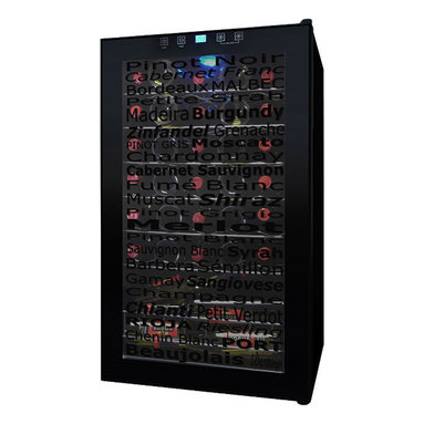 Vinotemp - Vinotemp - 34-Bottle Wine Varietal Cellar - Store your wine in the optimal environment while adding a chic touch to your home with the Wine Varietal 34-Bottle Wine Cellar. This clever wine cooler is the first to feature a decorative glass door that displays various varietal names, which provides a fun design element to this all black cooler.