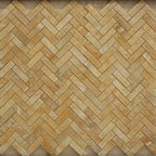 Honey Polished Herringbone Pattern Mesh-Mounted Onyx Tiles - Honey Mesh-Mounted Herringbone Pattern Onyx Mosaic Tile is a great way to enhance your decor with a traditional aesthetic touch. This polished mosaic tile is constructed from durable, impervious onyx material, comes in a smooth, unglazed finish and is suitable for installation on floors, walls and countertops in commercial and residential spaces such as bathrooms and kitchens.