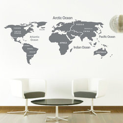ColorfulHall Co., LTD - DIY World Map Wall Decal, Gray - Map Wall Decals DIY World Map with Country