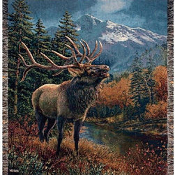Manual - Bull Elk Forest Print Tapestry Throw Blanket 50 Inch x 60 Inch - This multicolored woven tapestry throw blanket is a wonderful addition to your home or cabin. Made of cotton, the blanket measures 50 inches wide, 60 inches long, and has approximately 1 1/2 inches of fringe around the border. The blanket features a print of a bull elk at the edge of a river. Care instructions are to machine wash in cold water on a delicate cycle, tumble dry on low heat, wash with dark colors separately, and do not bleach. This comfy blanket makes a great housewarming gift that is sure to be loved.