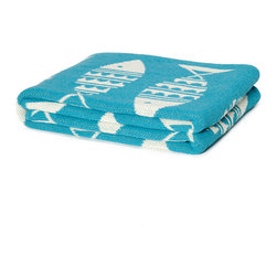 Swedish Fish Throw - Marine and Aqua - Classic Scandinavian patterns print the scaly sides of fish in this delightfully dynamic light blanket, the Swedish Fish Throw in Marine and Aqua.  An ideal combination of traditional patterns with a rhythmic ocean-life print, the throw's design challenges symmetry with a border of stylized waves that also increases the delightfully retro feel of this luxury throw.