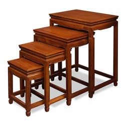 China Furniture and Arts - Rosewood Ming Design Nesting Tables - Exhibiting its pleasing simple lines in a distinct Ming (1368-1644) style, this exquisite set of four nested tables can be used individually or to the delight of your own artistic arrangement. All are completely handmade in solid rosewood by artisans in China using traditional joinery techniques. A hand applied natural rosewood finish enhances the beauty of the wood grains.