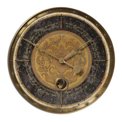 Uttermost - Leonardo Script 18 in.  Black Wall Clock - Weathered, Laminated Clock Face With A Cast Brass Outer Rim, Brass Center Components And Internal Pendulum. Requires 1-AA Battery.