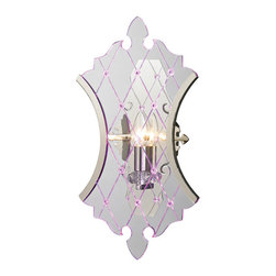 "ELK - ELK 31410/1 Wall Sconce - Classical motifs is the new chic. Enabling a truly ""transparent"" design, thick sheets of clear acrylic are laser cut into a detailed neo-classical silhouette.  Crosshatched lines are also etched into the acrylic panels with crystals embedded at their intersections to enhance the presence of the collection.  A minimalistic Polished Nickel finished frame clasps only the edges of the acrylic keeping a transparent, edgy style.  These items are also available with side-lit RGB LED lights as a special order."