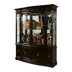 American Drew - American Drew Bob Mackie China Complete in Dark Brown - Soft gentle shapes, unique patterns, a mixture of materials and elegant details all describe the unique elements that are synonymous with a Bob Mackie gown; and these motifs are evident in the Bob Mackie Home? Signature collection by American Drew. The Signature collection is a fresh twist on classic designs. The inspiration and story is the creative use of materials and veneer work. The finish is a beautiful Rosewood color with veneer details in primavera, ebony, walnut burl, mahogany and cherry. Black granite, antiqued mirror and golden color accents add depth, drama and sparkle to this collection. Ribbon, lace, feather and starburst motifs add the 'dare to be noticed' flair to this group. Custom designed jewelry-like hardware, pierced brass collars and brass feet on selected items add a fine, finished look to each piece.