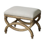 """Uttermost - Karline Natural Linen Small Bench - Hand carved, white mahogany frame with antiqued almond finish. Covering is natural linen and cotton with stain resistant fabric protector accented brass nails. Dimensions: 24""""W X 17""""D X 19""""H; Seat Color: White; Finish: Almond; Assembly: Fully Assembled; UL Approved"""
