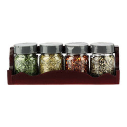 Urban Trend - Mason Jar Spice Rack & Jar Set - With the classic look of mason jars and generous capacity, these jars add traditional charm to the kitchen counter and keep seasonings neatly displayed in the wooden rack.   Includes rack and four jars Rack: 8.5'' W x 2.75'' H x 2.75'' D Jars: 2.43'' H x 1.75'' diameter Jars hold 2.4 oz. Rack: wood Jars: glass / metal Hand wash Made in the USA