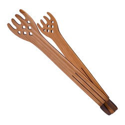"MoonSpoon® - 12"" Folding Flip Tong, Celtic Design - No more scorched fingers! Use these handy folding tongs to grab corn on the cob, baked potatoes or even boiled lobster. Handcrafted in Pennsylvania from cherry wood, this space-saving design stores easily beside the cooktop, so it's always there when you need it."