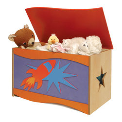 Star Rocket Toy Box - A large quality toy chest that will be treasured as much as the treasures it holds. Rockets and Stars accent this toy chest, made of birch veneers and finished in colorful stains. Wave shaped lid is solid birch wood. Safety hinges and finger space under lid ensure that little fingers won't get hurt.