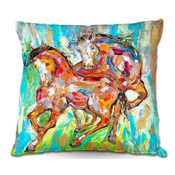 DiaNoche Designs - Pillow Woven Poplin by Karen Tarlton - Horse Play II - Toss this decorative pillow on any bed, sofa or chair, and add personality to your chic and stylish decor. Lay your head against your new art and relax! Made of woven Poly-Poplin.  Includes a cushy supportive pillow insert, zipped inside. Dye Sublimation printing adheres the ink to the material for long life and durability. Double Sided Print, Machine Washable, Product may vary slightly from image.