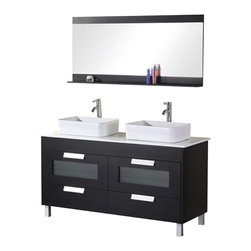 "Design Elements - Design Elements DEC019 Vanity in Black - The rich black wood cabinet of the 55"" Francesca double-sink vanity adds a beautiful contemporary touch to any bathroom. Two ceramic sinks nest atop a composite stone countertop, stylishly accenting the solid black lacquer cabinet, which is constructed of a birch frame and hardwood paneling that will withstand years of use. This design features four pullout drawers and includes a matching mirror with shelf."