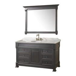 Wyndham - Andover 55in. Bathroom Vanity Set - Antique Black - A new edition to the Wyndham Collection, the beautiful Andover bathroom vanity series represents an updated take on traditional styling. The Andover is a keystone piece, with strong, classic lines and an attention to detail.