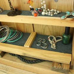 Jewelry Organizer (ammunition box) - Repurposed Ammo box with felted shelves and hanging hook for jewelry.