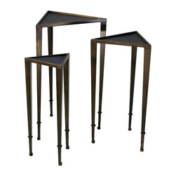 Cyan Design - Cyan Design Triangle Nesting Tables X-13720 - The triangular shape of each table helps to create a mod, Art Deco feel to this set of Cyan Design nesting tables. From the Triangle Collection, each table features a combination of iron and wood construction. The table tops are done in an ebony hue, while rich Mahogany finishing pulls the look together.