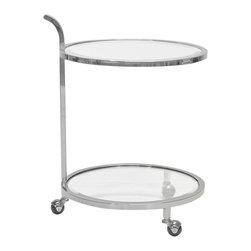 """Worlds Away - Worlds Away Ladner Nickel Bar Cart - The Worlds Away Ladner bar cart perfects classic style gone glam. Wrapping two glass surfaces, the chic piece's elegant frame elicits silver charisma.  21"""" Diameter x 28""""H; Nickel-leafed finish; Sits on wheels"""