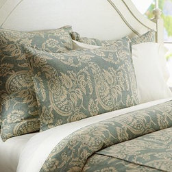 Alessandra Floral Reversible Duvet Cover, King/Cal. King, Dark Porcelain Blue - A 250-year-old hand-blocked textile from Provence was the model for our Alessandra floral. We collaborated with our fabric printer to capture its design, then printed it on weighty, textural linen/cotton for bedding of extraordinary substance. Woven of linen/cotton. Duvet and sham reverse to self. Duvet cover has interior ties and a button closure. Sham has an envelope closure. Duvet cover, sham and insert sold separately. Machine wash. Imported.