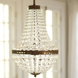 Mia Faceted-Crystal Pendant - This is such a gorgeous faceted-crystal chandelier. It has lots of sparkle but isn't too over the top. It would look gorgeous in a bedroom or even in a bathroom for a little added interest.