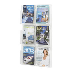 Safco - Reveal 6 Magazine Display Rack in Clear Finish - Keep magazines neatly stored and easy to find with this stylish storage rack. Displays reading materials clearly while keeping them safe and secure. Ideal for public settings like travel centers or waiting rooms. Mounts to the wall easily and comes with all necessary hardware. Includes mounting hardware. Displays literature clearly. Each pocket holds 1.75 in. of printed material. Thermoformed one-piece units have no sharp edges or corners. The displays are wall mountable. Wire partition hangers fit all Reveal Displays. GREENGUARD Certified. Made from PETG plastic. Material Thickness: 2.25mm (PETG). Magazine Compartment Size: 9.25 in. W x 1.75 in. D x 11.25 in. H. Overall: 21 in. W x 2 in. D x 36.75 in. H  (8 lbs.). Assembly InstructionDisplay your literature and magazines in an organized way. Whether it's for your guests in the reception area, waiting room, conference room, meeting areas, the lobby, foyer or entrance way or for your internal employees at a print station, lounge area, lunch or break room, mail room, supply room, classroom, media center, library or even your office, every piece of literature and magazine will have a perfect place to be displayed.