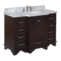 Kitchen Bath Collection - Nantucket 48-in Bath Vanity (Carrara/White) - This bathroom vanity set by Kitchen Bath Collection includes a chocolate cabinet with soft close drawers, double thick Carrara marble countertop, double undermount ceramic sinks, pop-up drains, and P-traps. Order now and we will include the pictured three-hole faucets and a matching backsplash as a free gift! All vanities come fully assembled by the manufacturer, with countertop & sink pre-installed.