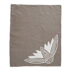 Cricket Radio - Alexandria Lotus Hand Towel, Stone/White - If you're looking to add a little soft color to your kitchen or guest bath, let this towel give you a hand. It's handmade of Italian linen in several colors and features a lotus flower printed with ecofriendly inks. At 21 by 26 inches, the linen will become even softer and more absorbent over time.