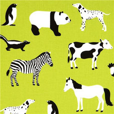 Fabric green Robert Kaufman fabric with animals from the USA