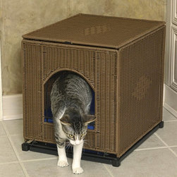 "Solvit Products - Mr. Herzher's Decorative Litter Box Cover - 14402 - Shop for Litter Boxes & Litter Box Supplies from Hayneedle.com! The Decorative Litter Pan Cover is a discreet way to conceal unsightly cat litter pans. Crafted from attractive diamond-pattern wicker this cover will naturally blend in with your decor while still providing your cat with ready access to the litter pan. The Rhino Wicker material used in this cover is resistant to odors and will not absorb fluids making it easy to keep your living space tidy. Non-slip feet at the bottom of this pan will protect flooring surfaces from scratches and chips. When the time comes to clean the pan simply access the interior via the flip-down front panel. The litter pan then slides out smoothly on guide rails for no-mess maintenance. Choose the natural or dark brown finish in large or jumbo size.Size information:Large: Measures 16.25W x 19.75L x 18.5H inches. Fits large litter pans up to 15W x 18.5L inches. Jumbo: Measures 18.25W x 23.5L x 19.5H inches. Fits large litter pans up to 17W x 22L inches.About Solvit Products At Solvit the motto is ""No pet left behind."" Offering a full line of ramps stairs strollers bicycle baskets trailers and other travel and mobility products Solvit considers the comfort of your four-legged friends. Your pets can travel with you with style and ease. Solvit products are designed to make life more comfortable and enjoyable for pets and their owners alike."