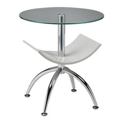 """Pastel Furniture - Pastel Furniture Ingardia 20 Inch Round End Table w/ Glass Top in White - The Ingardia end table is a simple yet elegant design that can add that stylish and modern flair to your living area. This end table with a 20"""" round glass top has a chrome base and a magazine holder made of glossy champagne wood."""