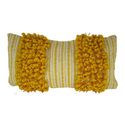 Twin Stripe Funberry Ivory and Yellow Pillow - Hand woven poly nubs pillow.