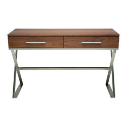 "Nuevo Living - Kravate Console Sofa Table in Walnut by Nuevo - HGSD449 - The sleek Kravate sofa table in Walnut is constructed in MDF with Walnut veneer.  The two drawers are 20.75 x 11.25 x 3 each.  Height to the bottom of the drawers is 22.75"".   The base is brushed stainless steel."