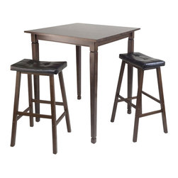 Winsome - Winsome Kingsgate 3 Piece Square Pub Dining Set in Antique Walnut - Winsome - Pub Sets - 94399
