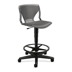 Hon - Olson Task Stool - You may not be in line for a raise, but you can raise yourself on this versatile task stool. The contoured back and seat are molded from a high-tech polymer, supported by a steel frame that can put your frame where the work is. It's perfect for those who work at drafting tables.