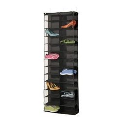 Black Polyester 26-Pocket Over-the-Door Shoe Organizer - I love this black shoe sorter. It's very modern.