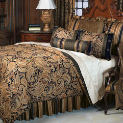 "Frontgate - Langdon Comforter - Super Queen, Hand Tacked - From Eastern Accents. Button-tufted and hand-tacked comforters have two layers of decorative fabric with polyester batting secured inside to prevent shifting. Twin - 63"" x 88"" Queen - 88"" x 90"" Super Queen - 96"" x 98"" King - 102"" x 90"" Super King - 114"" x 98"" California King - 104"" x 100"".. Dry clean only recommended. Because this bedding is specially made to order, please allow 4-6 weeks for delivery.. The Langdon Bedding Collection brings dramatic flair to any room. Classic fabrics in paisleys and stripes combine with a striking leopard print, resulting in a palatial, stunning collection. Accessories are embellished with cord, gimp, and brush fringe. Langdon's deep, warm tones of onyx, gold, and burgundy will dress your home in magnificent elegance.  .  .  .  . . Made in USA of imported goods. Part of the Langdon Bedding Collection."