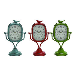Benzara - Retro Set of 3 Metal Table Clocks Blue Red Green Bird Decor 34924 - Retro set of 3 metal table clocks on adjustable stands in blue red and green with antique finish and bird details decor