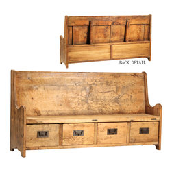 Beautiful Weathered Wood Furnishings - Reminiscent of old churches, this reclaimed wood bench with four drawers of extra storage would be great in an entryway!