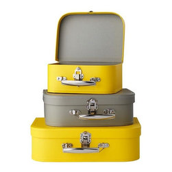 Bon Voyage Suitcases, Yellow/Gray, Set of 3 - This suitcase set would be the perfect addition to my bedroom dresser. It would store away all of my jewelry and spare change.