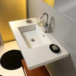 Tecla - Rectangular White Ceramic Wall Mounted, Vessel, or Built-In Sink - Contemporary style white ceramic sink with overflow. Rectangular wash basin can be wall mounted, above counter, or built-in to a counter or vanity. Available with no hole, one hole, or three holes. Made in Italy by Tecla. Rectangular white ceramic sink. Wall mounted, above counter, or drop-in. With overflow. No hole, one hole, or three holes. From the Tecla Mars Collection. ADA compliant. Standard drain size of 1.25 inches. Because the sink has multiple installations, the back side is not glazed.