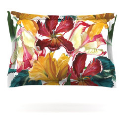 """Kess InHouse - Lydia Martin """"Flower Power"""" Floral Rainbow Pillow Sham (Woven, 40"""" x 20"""") - Pairing your already chic duvet cover with playful pillow shams is the perfect way to tie your bedroom together. There are endless possibilities to feed your artistic palette with these imaginative pillow shams. It will looks so elegant you won't want ruin the masterpiece you have created when you go to bed. Not only are these pillow shams nice to look at they are also made from a high quality cotton blend. They are so soft that they will elevate your sleep up to level that is beyond Cloud 9. We always print our goods with the highest quality printing process in order to maintain the integrity of the art that you are adeptly displaying. This means that you won't have to worry about your art fading or your sham loosing it's freshness."""