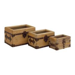 Wood Glass Leather Box, Set of 3 - Description: