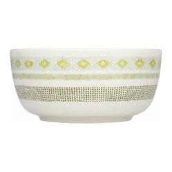 Iittala - Sarjaton Bowl Tikki - Talk about service with a smile! The jaunty pattern and earthy colors of this bowl are matched only by its generous shape — a good indication that something yummy is inside.