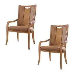 "American Drew - American Drew Antigua Splat Back Dining Arm Chairs - Set of 2 Multicolor - ADL43 - Shop for Dining Chairs from Hayneedle.com! The American Drew Antigua Splat Back Dining Arm Chairs bring a casual comfort with a sense of well-traveled appeal to any setting. This set of two chairs is crafted from hardwood solids and Primavera veneers. A Toasted Almond finish offers warm tones complemented by the rattan woven panel backs and comfortable arms. Thick padded seat cushions are adorned in tan upholstery making these chairs as comfortable as they are stylish.About American DrewFounded in 1927 American Drew is a well-established leading manufacturer of medium- to upper-medium-priced bedroom dining room and occasional furniture. American Drew's product collections cover a broad variety of style categories including traditional transitional and contemporary. Their collections range from the legendary 18th-century traditional ""Cherry Grove "" celebrating its 42nd year of success to the extremely popular ""Bob Mackie Home Collection "" influenced by the world-renowned fashion designer Bob Mackie. ""Jessica McClintock Home"" features another beloved designer bringing unique style to an American Drew line. American Drew's headquarters are located in Greensboro N.C. Their products are distributed through thousands of independently owned retailers throughout the United States and Canada and around the world."